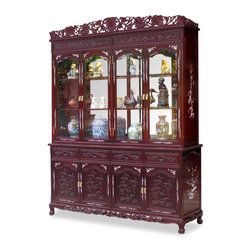 China Furniture and Arts - 72in Rosewood Grape Vine Motif w/Pearl Inlaid China Cabinet - A grand curio cabinet to display your treasured collectibles. Hand carved grape vines and touch of pearl inlay decorated the entire cabinet. Interior has halogen lights and adjustable wood framed glass shelves. Four drawers and cabinets with removable shelf in the lower portion providing ample storage space. Splendid with imperial grandeur. Hand applied dark cherry finish. Matching brassware.