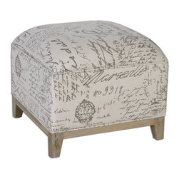 Uttermost - Uttermost Amrit Cube Ottoman 23138 - A solid oak leg base and hardwood frame make a sturdy foundation for this versatile, cube-style ottoman in script-printed linen.