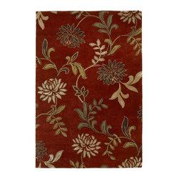 KAS Oriental Rugs - Florence Red Floral Rectangular: 5 ft. x 8 ft. Rug - -Wool & Viscose in a Cut & Loop Pile  -Cotton Backing KAS Oriental Rugs - FLO45625X8