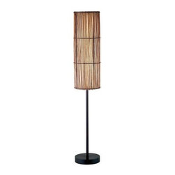 Adesso - Adesso 4025-26 Maui Floor Lamp - The Adesso Maui Floor Lamp has an antique bronze finish with brown bamboo stick shade that is lined with a fabric-like white rice paper. This lamp has a wooden stick base and a metal stick pole. It has a matching round wood finial.  About Adesso  Adesso was established in 1994, with the vision and belief that consumers who sought high-end contemporary home products at affordable prices would be able to do so. �Adesso has been able to redefine residential spaces with its innovative, well-designed and well priced products. They have integrated an array of colors and materials in the design of their products to include renewable bamboo, cork, glass, resin, woven fabric, rice-paper and even metals.� Adesso is shaping the future of home design and they�re driven by the simple idea that your home is a canvas.