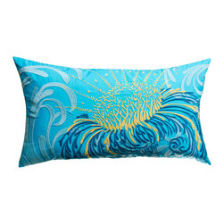 "KOKO - Water Pillow, Blue/Mustard, 15"" x 27"" - All that's missing from this scene is a mystical mermaid. This is exactly the whimsical pop of color a sofa needs. It just might get you through the days until your next vacation."