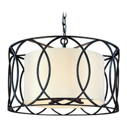 Drum Pendant Light with White Shades in Deep Bronze Finish -