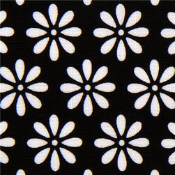 black Riley Blake fabric with flower daisy - designer fabric from the USA with many white daisies