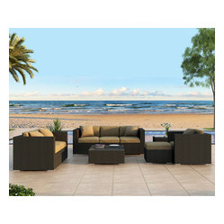 Urbana 5-Piece Outdoor Wicker Sofa Set, Beige Cushions