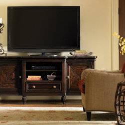 Lexington Home Brands - Maui Media Console - The two doors feature mitered split bamboo pattern with and adjustable shelf behind. The center drawer has an adjustable shelf above to allow for various media components.