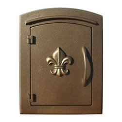 "Qualarc, Inc. - Manchester Mailbox, Fleur De Lis Door, Bronze - This decorative cast aluminum mailbox insert can be matched with an optional newspaper holder or address plaque. The doors are sealed against the weather and its 22 gauge steel masonry box is electro-galvanized and powder coated to last. Faceplate Dimensions: 11"" x 14.5"". Masonry Can Dimensions: 16"" x 8.5"" x 12""."