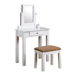 """Adarn Inc. - Clean Line Make Up Table Vanity Set Dresser w/ Adjustable Swivel Bench, White - This classic vanity set brings a timeless traditional style to your bedroom. This Vanity set comes in white / Black or Espresso finish with a nice marble top finish and upsolstered bench with microfiber in mocha color. Featuring a spacious rectangular table top with one drawer, a adjustable swivel mirror, and a upholstered bench. Vanity:   27 1/2"""" W x 16""""D x 50""""H; Bench: 18""""W x 13""""D x 17""""H"""
