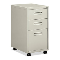 Hon - Hon Embark 2 Drawer, 1 File Pedestal - A high-quality file cabinet is the unsung hero of any office space. This one is made of durable gray steel and features two shallow drawers for supplies and one drawer for hanging files. The whole thing locks and even rolls on nylon casters as needed.