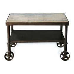 Kathy Kuo Home - Belker Industrial Loft Reclaimed Wood Iron Casters Cart Side Table - Reclaimed azobe wood adds natural beauty to this industrial metal side table. A second shelf adds storage for petite spaces while four antique reproduction wheels offer mobility to place this table anywhere it is needed.