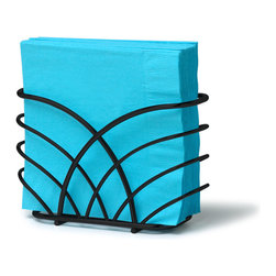 Spectrum Diversified Designs - Flower Napkin Holder - Black - From the Flower Collection, this napkin holder keeps napkins neat, stacked and contained. Made of sturdy steel with a black finish.