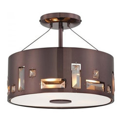 ParrotUncle - Metal Drum Shade Modern Living Room Semi-Flush Mount Ceiling Lights Brown Finish - Add warmth to your home by hanging this Metal Drum Shade Modern Living Room Semi-Flush Mount Ceiling Lights over your dining room table, your kitchen bar, your living room or your children's bedroom.Once you hang this lamp, you'll start critiquing every other lighting fixture in the house. The light's unique design will change the way you think about illuminating a room.