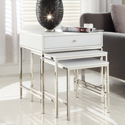 Inspire Q - INSPIRE Q Gratten White Nesting Table Metal Accent Table - Complete the look of your modern decor with this nesting accent table set. With their chrome accents,these three rectangular tables will make a lovely addition to any room of your home. A drawer in the larger table offers convenient storage.