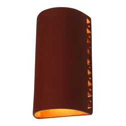 Clayworks Studio/Gallery - Halo Style Clay Sconce, Natural Terra Cotta, With Clear Weather Cap - This style combines a simple design with a dramatic halo effect.  It is handcrafted in Austin, Texas and is available in natural terra cotta or white clay.  Sconces are paintable so that you can customize them to your own color palette.