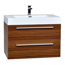 "CBI - ConceptBaths 31.5"" Wall-Mount Contemporary Bathroom Vanity Set Teak TN-M800-TK - Featuring soft-closing drawer sliders, you'll never hear a drawer slam shut again. Constructed of white man-made stone counter, a high quality MDF cabinet in teak finish."