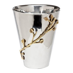 Godinger Silver - Leaf Design Medium Planter - Inspired by nature and modern arts this divine plant holder juxtaposes hammered stainless, and brass leaf detailing. Make your home more welcoming by placing them beside your entrance ,and place in your garden for a splendid array of tropical trees!