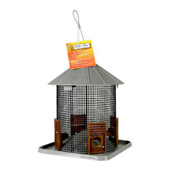 Hiatt Manufacturing - Sunflower Crib Feeder - Feeder design attracts both clinging and perching birds. Built-in drainage and seed diverter helps keep seed fresh and dry. Fill with Black Oil Sunflower seeds.