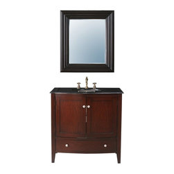 Stufurhome - Stufurhome Alicia 36 In. Single Bathroom Vanity Set with Black Galaxy Granite To - Shop for Bathroom from Hayneedle.com! You'll admire the Stufurhome 36-in. Alicia Single Bathroom Vanity Set with Black Galaxy Granite Top - and you'll admire yourself a little too in the set's included wall mirror. Crafted with a durable wood base in a rich cherry finish this sleek vanity is topped with luxe black galaxy granite. Below the two-door cabinet space is a single large storage drawer ideal for linens. The included ceramic sink has an easy undermount design and three pre-drilled holes in the countertop accommodate a faucet. Hang the coordinating wide-framed mirror above the vanity or place it somewhere else in the bathroom to carry the theme throughout the room.About StufurhomeBased in San Francisco Stufurhome boasts the best and broadest selection of well-designed well-crafted sink vanities and home furniture. Classic Venetian contemporary modern chic - Stufurhome has every vanity style in a variety of sizes to accommodate all modern bathrooms. Hand-carved moldings antiqued brass hardware fine finishes and hand-painted details add artistry to every piece.
