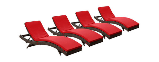 Modway Furniture - Modway Peer Chaise Set of 4 in Brown Red - Chaise Set of 4 in Brown Red belongs to Peer Collection by Modway Don't let moments of relaxation elude you. Peer is a serenely pleasant piece comprised of all-weather cushions and a rattan base. Perfect for use by pools and patio areas, chart the waters of your imagination as you recline either for a nap, good read, or simple breaths of fresh air. Moments of personal discovery await with this chaise lounge that has fold away legs for easy storage or stackability with other Peer lounges. Set Includes: Four - Peer Outdoor Wicker Chaise Chaise (4)