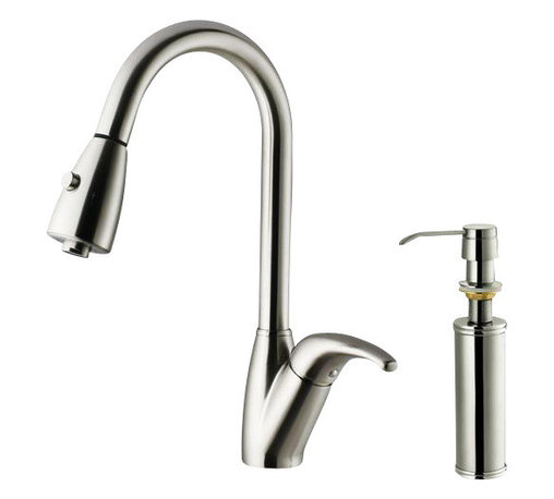 Vigo - VIGO VG02017STK2 Kitchen Faucet with Soap Dispenser - Purchase a VIGO faucet that is sure to accentuate your kitchen design for years to come.