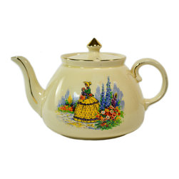 Lavish Shoestring - Consigned Buff Teapot w/ Garden Decoration by Gibsons, English, circa 1950 - This is a vintage one-of-a-kind item.
