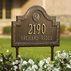 "Frontgate - Stratford Lawn Address Plaque - Sturdy cast aluminum. Enamel coating withstands rain, snow, and UV rays without fading. Includes wall-mount hardware or lawn stakes. House number can be personalized with up to five 3"" caxton numbers. Street name can be personalized with up to sixteen 1-1/2"" characters. Make your home and yard even more distinctive with our Stratford Personalized Address Plaques. A single scripted initial and elegant border designs highlight these durable and decorative plaques, available as either wall-mount or staked versions.  .  .  . . . Please check for accuracy; personalized orders cannot be modified, cancelled, or returned after being placed. Made in the USA."