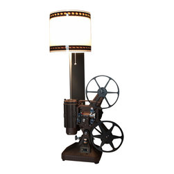 Early Brown K108 Movie Projector Table Lamp, 35mm Film Shade - Vintage Brown Keystone K-108 8MM projector converted into a unique table lamp.