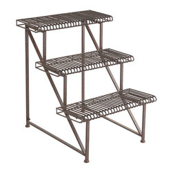 Three-Tier Iron Plant Rack - With it's sturdy iron construction, distressed finish, and tiered levels, we think you'll be able to find several ways to use this three tier stack of shelves in your home. Place it under a covered area outside to display your plants, or keep it inside to showcase your collectables.