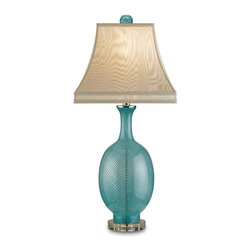 Currey and Company - Artois Table Lamp, Aqua - With an elegant formed base in a pale blue glass, the Artois table lamp by evokes a romantic feel with its feminine silhouette. The drum shade in cream silk is completed with matching blue glass finial, adding to the lamp's romantic feel. The hand finishing process that is used on this lamp lends an air of depth and richness not achieved by less time-consuming methods.
