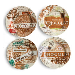 "Rosanna - Chocolaterie Dessert Plates - These antique labels, collected throughout Italy and France, pay homage to the most famous chocolatiers of Europe. Celebrate the deliciousness of chocolate, and indulge in a food that feeds the soul. * Four assorted rimmed plates in a gift box, 8"" diameter * Made of refined porcelain, microwave & dishwasher safe"