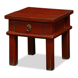 China Furniture and Arts - Vintage Red Wooden Stool - Hand-crafted of Elmwood, our reproduction of a wooden stool from China's southern provinces embraces the intrigue of the East as an unconventional end table. Can be used as a stool or to display small decorative objects. One drawer for your storage convenience. Design and size may vary slightly due to its handcrafted nature. Distressed red finish. Please let us select for you.