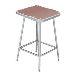 National Public Seating - Science Lab Square Stool w Hardboard Seat - Plastic guides. 14 in. Dia. seat with 11.5 in. Dia. masonite board recessed into pan and will not chip or crack. 0.63 in. O.D. foot rings are welded to each leg. Four contact points at each leg for added rigidity. Steel contains 30-40% of post-consumer waste (recycled). Meets ANSI and BIFMA standards. Warranty: Five years for material. Made from 0.88 in. O.D. 18-gauge steel tubing. 14 in. L x 15 in. W x 24 in. H (9 lbs.)