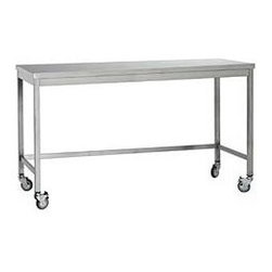 Design Within Reach - Quovis Standing Height Table - Our Quovis Collection has set the standard for quality stainless steel utility furniture since we first developed it with an Italian restaurant equipment manufacturer. The Quovis Standing-Height Table is sized for use either standing up or with a standard height counter stool. The table is designed with a sound-dampening solid substrate to prevent the rattling and clanging of other lesser quality steel tables. These generously proportioned pieces are easy to clean and maintain, will not rust and are constructed to endure years of use. Able to withstand the corrosive action of various food and chemical acids, they suit a high traffic caf; or kitchen, darkroom or workspace. The Quovis Collection is equipped with lockable casters. Made in Italy. Assembly required. DWR Exclusive.