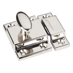 Jeffrey Alexander - Cupboard Latch , Polished Nickel - Cupboard Latch 1 3/4 inch x 1 3/4 inch Overall Length two piece cupboard latch packaged with 6 attachment screws #5 x 5/8 inch oval head Philips screws. Finish: Nickel