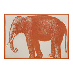 "Thomas Paul - Bombay Elephant Tea Towel - The handmade Thomas Paul Bombay Elephant Tea Towel features hand screened prints on 100% cotton. The towel features the image of the majestic elephant in burnt orange. Tea towels are the utility item of your kitchen.  Use them to wipe down your clean dishes, wrap fresh muffins in a basket, or under bowls to keep them steady while you are mixing up your next delicious delight. We also love incorporating them into tablescapes or using them as colorful place mats.  The rich orange color add a pop of color to your kitchen or dining room.   About the Artist: After graduating from NYC's famed FIT, Thomas Paul started his career as a colorist and designer at a silk mill. Eventually, he leveraged his knowledge of silk materials & print to launch a neckwear line of his own. Over time, Paul loved the idea of applying menswear print and design into a collection of home decor, which is what we see in his goods today. His background has embedded in him a passion for quality production techniques. Even as his brand grows, he continues to ensure all of his prints are hand screened - a slow, detailed process that results in each piece being a unique piece of artwork. Paul also pushes the envelope in terms of bold prints and hand ground materials.       ""My vision for the thomaspaul brand has always been about combining classic design motifs from different periods in textile design. Incorporating anything from an 18th century Damask pattern to a camouflage print. The unifying thread between so many different styles is to change the designs so they are updated for today. For me this means changing the scale, so they are always bold, and reducing down the colors and details, so most designs are reduced to two or three colors and become very flat, bold prints. I am always looking to vintage fabrics and motifs for inspiration and new ideas, but always try to update these to look good for today."" - Thomas Paul   Product Details:"
