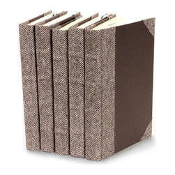 Bespoke Books   - Grey Suit - Set of 5 - Elegant and perfect for a home office or study to bulk up a book shelf in a beautifully styled manner, the Bespoke Grey Suit, decorative books are as charming as can be. This repurposed collection of books is covered in a handsome grey fabric that can easily adapt to any decor style.