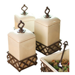 Gracious Goods GG - Ogee-G Cream Ceramic Set of 3 Canisters with Metal Base - GG Collection Ogee-G Cream Ceramic Canister Set