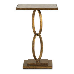 Currey and Company - Bangle Table, Gold Leaf - The Bangle Table has a traditional finish and is a transitional piece with an antique mirror top.  A timeless style composed of two wrought iron rings supporting the base and top. The geometry of the square top and base is an interesting contrast to the infinity ovular rings.