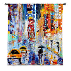 """DiaNoche Designs - Window Curtains Lined by Karen Tarlton A New York New Year - Purchasing window curtains just got easier and better! Create a designer look to any of your living spaces with our decorative and unique """"Lined Window Curtains."""" Perfect for the living room, dining room or bedroom, these artistic curtains are an easy and inexpensive way to add color and style when decorating your home.  This is a woven poly material that filters outside light and creates a privacy barrier.  Each package includes two easy-to-hang, 3 inch diameter pole-pocket curtain panels.  The width listed is the total measurement of the two panels.  Curtain rod sold separately. Easy care, machine wash cold, tumble dry low, iron low if needed.  Printed in the USA."""