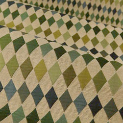 Harlequin Upholstery in Beige, Blue, and Green - Harlequin Upholstery in Beige, Blue, and Green Diamond Pattern Upholstery Fabric. Classic cotton blend perfect for upholstering chairs, sofa, or accent pillows.