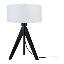 Lights Up! - Woody Table Lamp, White Linen - Your style personality lights up any room. So, isn't it time your lamp followed suit? The tripod base on this funky table lamp is made from sustainably harvested wood and comes in your choice of black or pickled finishes. It holds one bulb and a dramatic drum shade available in several eye-popping colors, patterns and materials.