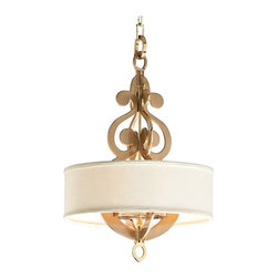 "Corbett - Contemporary Corbett Olivia Collection 17"" Wide Polished Brass Pendant - Elegant and glamorous this pendant light features a swirling cast brass metal design in the center creating an eye-catching focal point. A hardback linen shade is paired with a satin and polished brass finish completing this design. From the Olivia Collection by Corbett Lighting. Satin and polished brass finish. Cast brass construction. Hardback linen shade. Four maximum 60 watt or equivalent candelabra base bulbs (not included). Includes 4 feet of chain. 26 1/2"" high. 17"" wide.   Satin and polished brass finish.  Cast brass construction.  Hardback linen shade.  Four maximum 60 watt or equivalent candelabra base bulbs (not included).  Includes 4 feet of chain.  26 1/2"" high.  17"" wide."