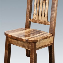 Montana Woodworks - Wooden Dining Chair - Handcrafted. Rustic timber frame design. Heirloom quality. Ergonomically designed standard wooden seat. Made from solid U.S. grown wood. Stained and lacquered finish. Made in USA. No assembly required. Seat height: 18 in.. Overall: 19 in. W x 18 in. D x 38 in. H (20 lbs.). Warranty. Use and Care InstructionsThis wonderful dining side chair is as comfortable as it is unique. This chair incorporates the tried and true mortise and tenon joinery system that has served as a symbol of durability for millennia.