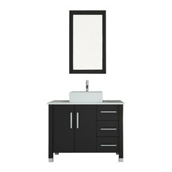 "JWH Imports - 39.5"" Crater Single Vessel Sink Modern Bathroom Vanity with Phoenix Stone Top - Look forward to that morning mirror gaze, even if you're having a bad hair day. Cupping your hands under the faucet flow will feel luxurious instead of mundane. Crafted of solid oak and glass, and made to accommodate any plumbing configuration, this espresso-colored vanity will give you more of a pickup than your preferred morning latte."