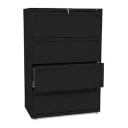 HON 700 Series 36 Inch Four Drawer Lateral File - Get organized with the HON 700 Series 36-Inch Four-Drawer Lateral File. This tall, wide file cabinet has four generously sized drawers that hold letter or legal folders. A lock at the top of the cabinet keeps your important files safe, and the lock controls all openings. The mechanical interlock feature allows only one drawer to open at a time to prevent the file cabinet from tipping.Designed for intense daily use, this file cabinet has a three-part telescoping slide suspension, and leveling glides are adjustable for uneven floors. It is available in your choice of putty, black, light gray, or light charcoal finish. Delivered fully assembled. Dimensions: 36W x 19.25D x 53.25H inches.About the HON CompanyHeadquartered in Muscatine, Iowa, the HON Company is established as a leader in the office furniture industry. The HON Company designs and manufactures products including chairs, files, panel systems, tables, and desks. With several national manufacturing facilities, the company provides products through a system of dealers and retailers throughout the United States.As the landscape of today's office and classroom continues to change with new technologies, the HON Company has created office furniture, teacher stations, and student desks that anticipate and adapt to the newest waves of high-tech products. Additionally, in an effort to think and act green, the HON Company uses less packing material, reduces their amount of fabric waste, and uses recycled wood from other furniture.