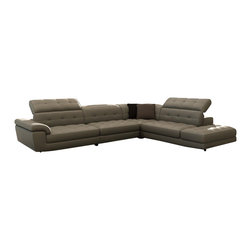 vig furniture - Divani Casa 992 Modern Grey Italian Leather Sectional Sofa - Color:Grey