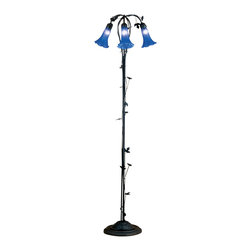 "Meyda Lighting - Meyda Lighting 31333 59""H Blue Pond Lily 3-Light Floor Lamp - Meyda Lighting 31333 59""H Blue Pond Lily 3-Light Floor Lamp"