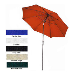 None - Fiberglass Premium Collar Tilt 9-foot Umbrella - Let this delightful tilt market umbrella offer a welcome shield from the sun. The fiberglass and aluminium framework combines with fabric in your choice of several colors. Simply move the umbrella to the desired angle and enjoy more fun outdoors.