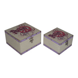 Cheung's - Set Of 2 Flat Top Square Keep Sake Box With Peace Design And Trim Silver Studs - Nested for Space Saving. Metal Hook Latch. Inside Lining.
