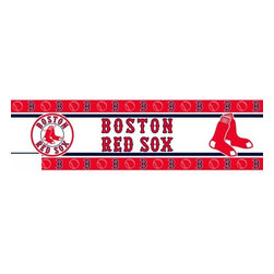 Sports Coverage - MLB Boston Red Sox Self Stick Wall Border - It's so quick and amazing, just peel and stick! Self-stick, removable, and reusable MLB Boston Red Sox Wall Borders are the easy way to decorate and won't damage walls! Peel and Stick technology will adhere to any smooth surface. Washable and dry strippable. Colorful graphics are printed on durable, tear-resistant vinyl wall border in the repeating pattern shown. Size: 5 x 15' long per package. It's so quick and amazing, just peel and stick! Installation has never been so easy!