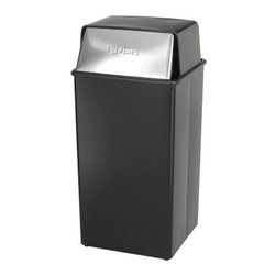 Safco Push Top Black and Chrome Metal 36 Gallon Commercial Trash Can - The Safco Push Top Black and Chrome Metal 36 Gallon Commercial Trash Can is a great trash can for commercial settings. Part of the Reflections collection this unit has a smooth and sleek design to make a great first impression wherever it's placed. The 36-gallon receptacle features two-way self-closing doors. It was designed to extinguish a fire in less than one minute. Constructed with the highest quality puncture-resistant fire-safe steel with rolled rim and double-lock seams it has a black powder-coat finish with chrome doors. Other features include color-coordinated vinyl bumper tops and no-mar polyethylene feet. The base features corner hooks for attaching bag liners. Dimensions: 18L x 18W x 37.5H inches.About SafcoSafco specializes in developing products for the changing needs of the business world offering designs that bring comfort style and value to the modern workplace. Safco recognizes the importance of comfort when it comes to doing work well so it will continue to offer new styles and new solutions to meet the ever-changing needs of the student and the employee.
